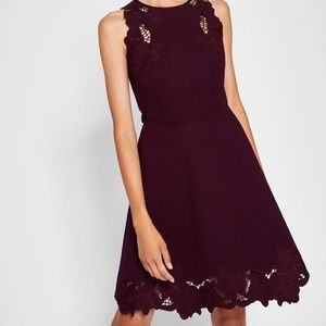 TED BAKER LONDON Nwt Maroon Skater Party Dress 1 S